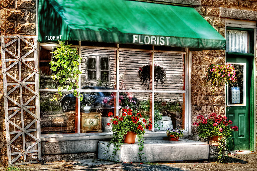 Awning Photograph - Store - Florist by Mike Savad