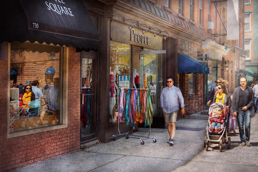 Savad Photograph - Store Front - Hoboken Nj - People by Mike Savad