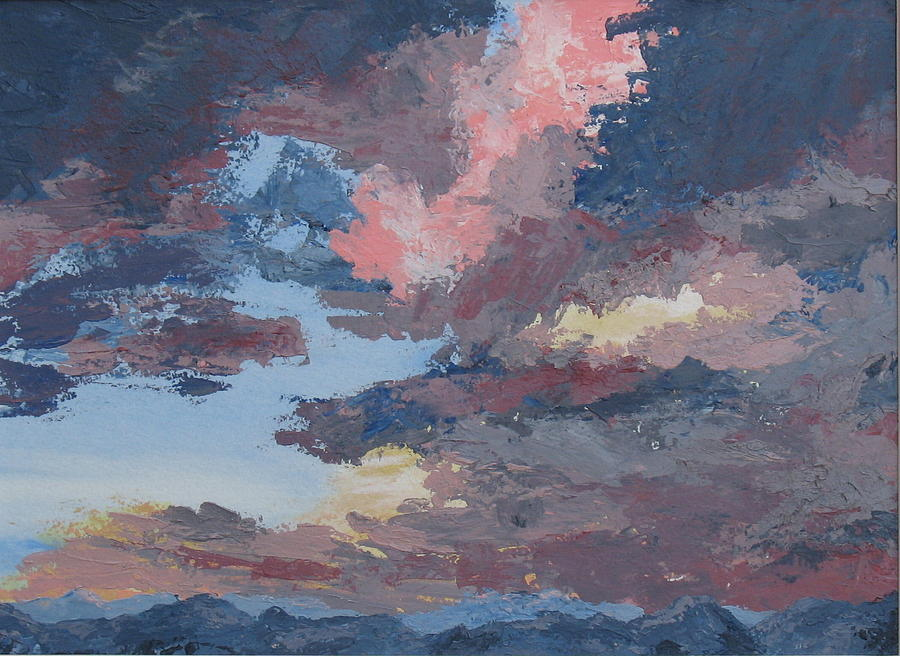Stormy Sky Painting - Storm A Brewin by Janis Mock-Jones