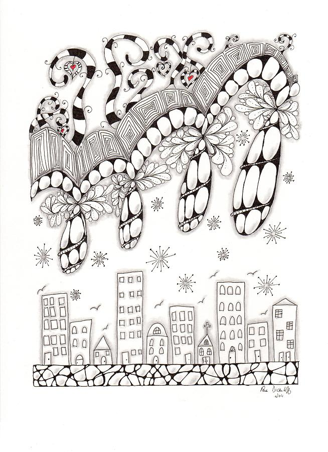 Zentangle Drawing - Storm Above The City by Paula Dickerhoff