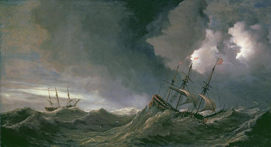 Ships Painting - Storm At Sea by Willem van de II, Velde