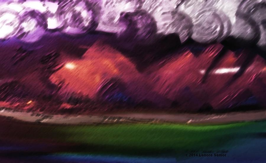 Expressive Painting - Storm At Sundown by Lenore Senior