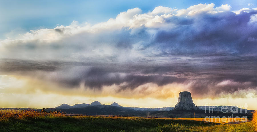Storm Photograph - Storm Clouds Over Devils Tower by Sophie Doell