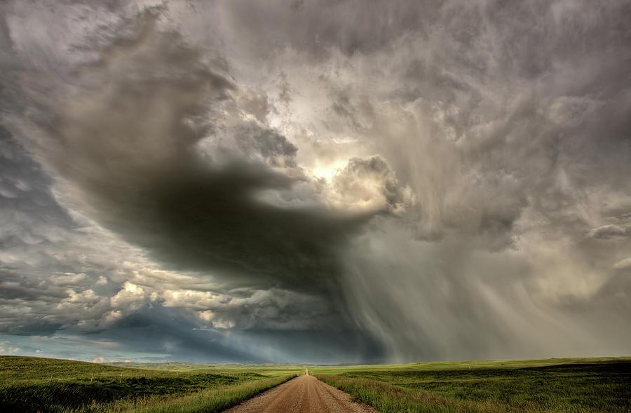 Nature Digital Art - Storm Clouds Prairie Sky Saskatchewan by Mark Duffy