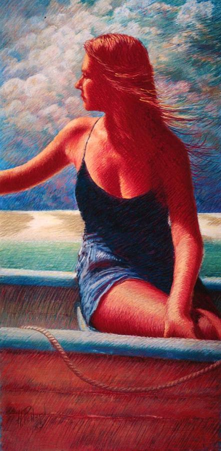 Girl Painting - Storm Coming Up by Herschel Pollard