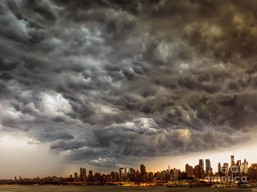 Weather Photograph - Storm Coulds Over Nyc by Jerry Fornarotto