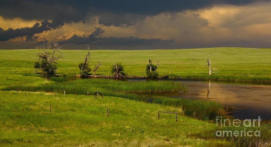 Barn Photograph - Storm Crossing Prairie 1 by Robert Frederick