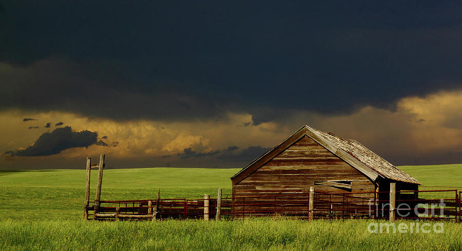 Barn Photograph - Storm Crossing Prairie 2 by Robert Frederick