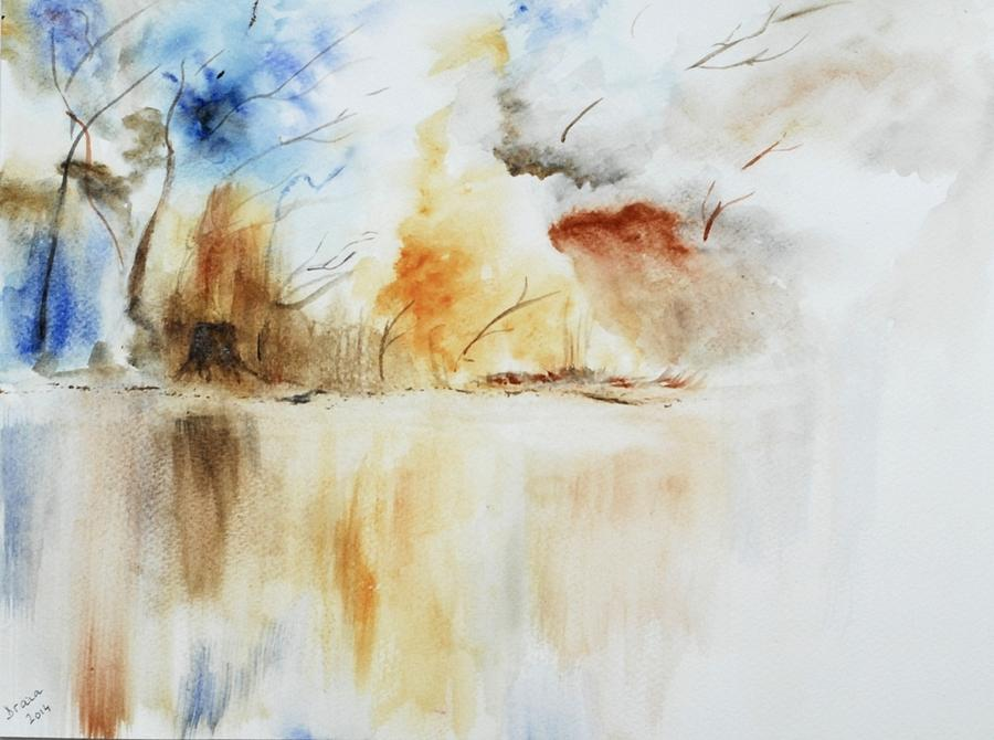 Watercolor On Paper Painting - Storm by Draia Coralia