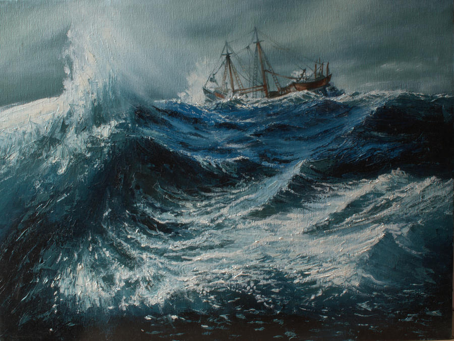 Storm In The Sea Painting By Shobita Sreekumar