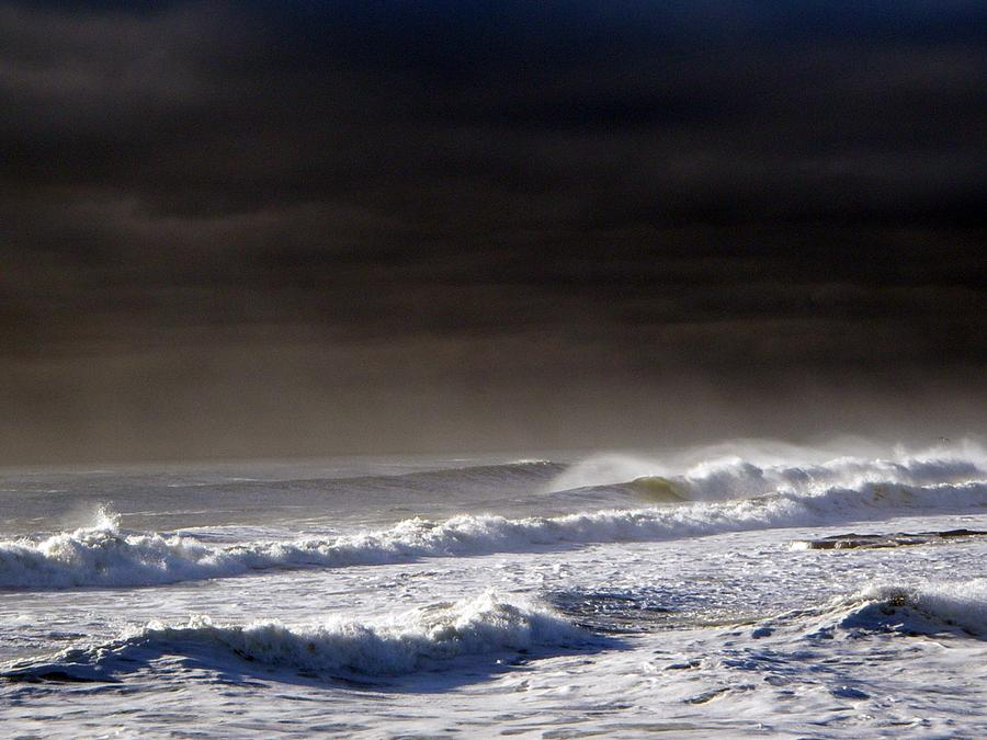 Landscape Photograph - Storm Moving Out To Sea by Anastasia Pleasant