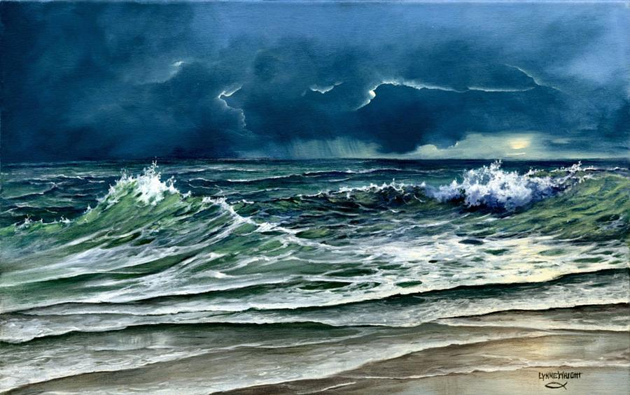 Lynne Wright Painting - Storm Off Yucatan by Lynne Wright