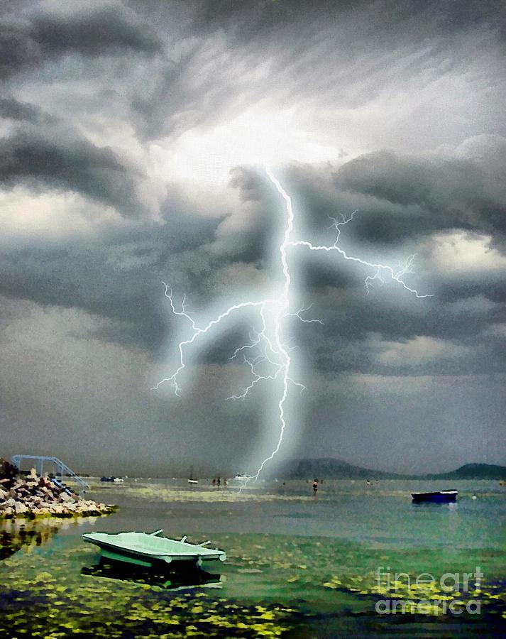Acrylic Painting - Storm On Balaton Lake by Odon Czintos