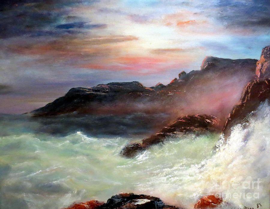 Seascape Painting - Storm On Mount Desert Island by Lee Piper