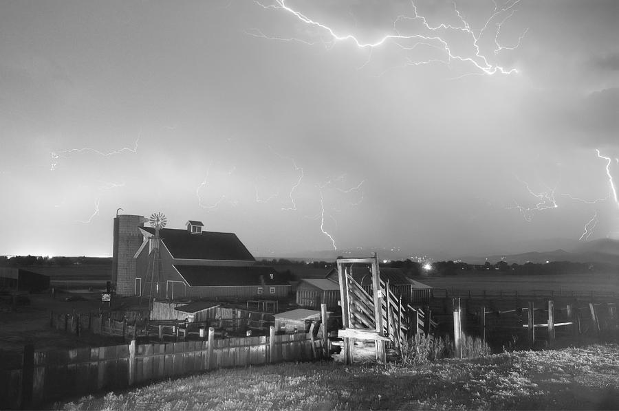 Lightning Photograph - Storm On The Farm In Black And White by James BO  Insogna
