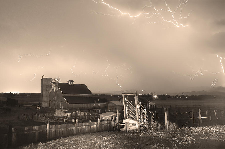 Lightning Photograph - Storm On The Farm In Black And White Sepia by James BO  Insogna