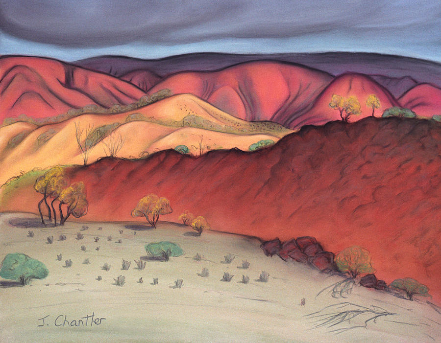 Gammon Ranges Pastel - Storm Outback Australia by Judith Chantler