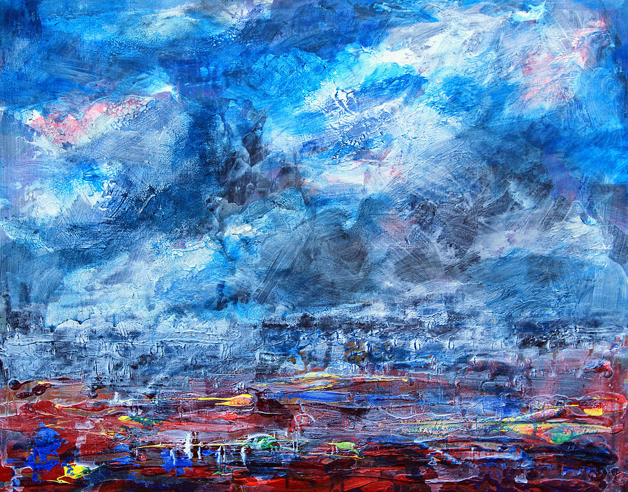 Storm Painting - Storm Over Flower Fields by Walter Fahmy