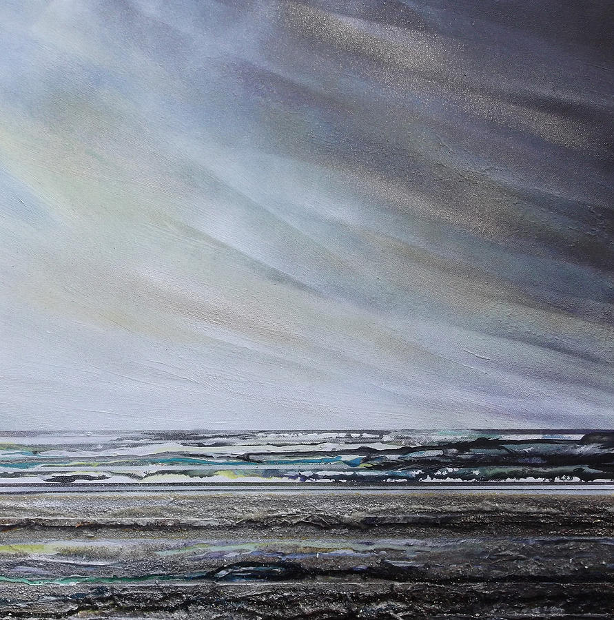 Storm Mixed Media - Storm Over Hauxley Haven Northumberland 1 by Mike   Bell