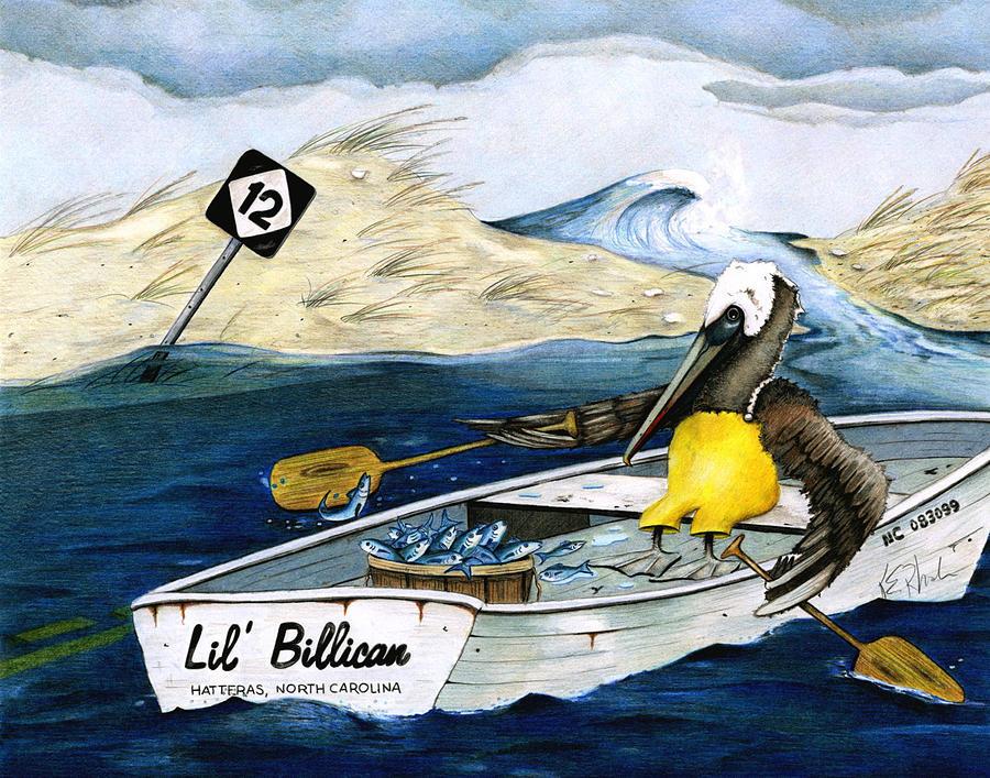Pelican Drawing - Storm Rashins by Karen Rhodes