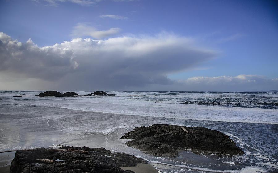 Beach Photograph - Storm Rolling In Wickaninnish Beach by Roxy Hurtubise