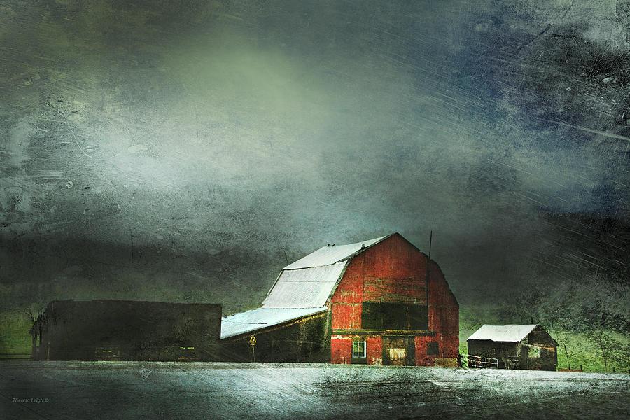 Red Barn Photograph - Storm by Theresa Tahara