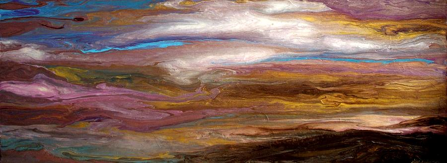 Serene Painting - Storms At Sunset / Original Skyscape Painting by Holly Anderson