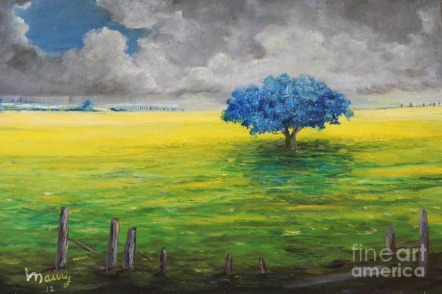 Puerto Rico Jacaranda Tree Painting - Stormy Clouds by Alicia Maury