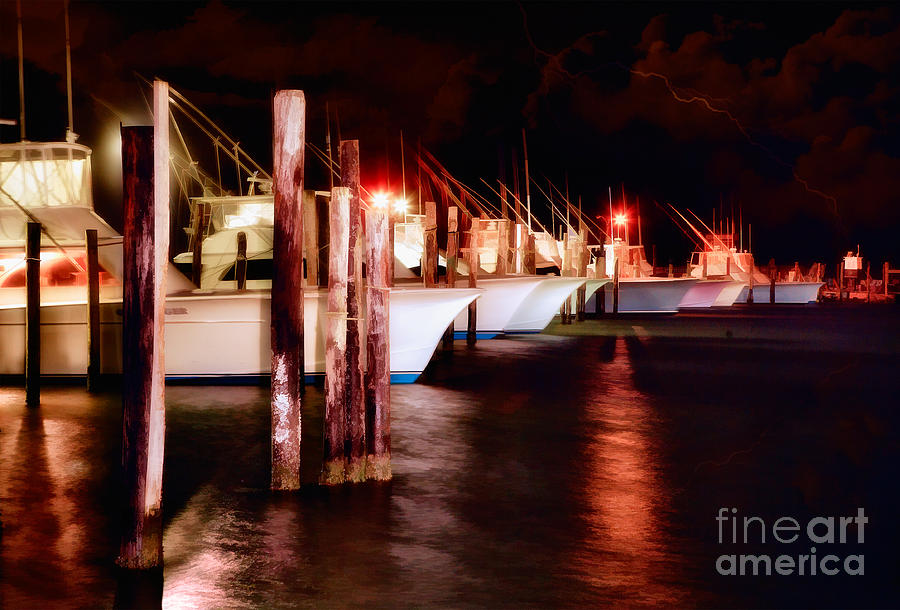 North Carolina Painting - Stormy Night In The Marina - Outer Banks by Dan Carmichael