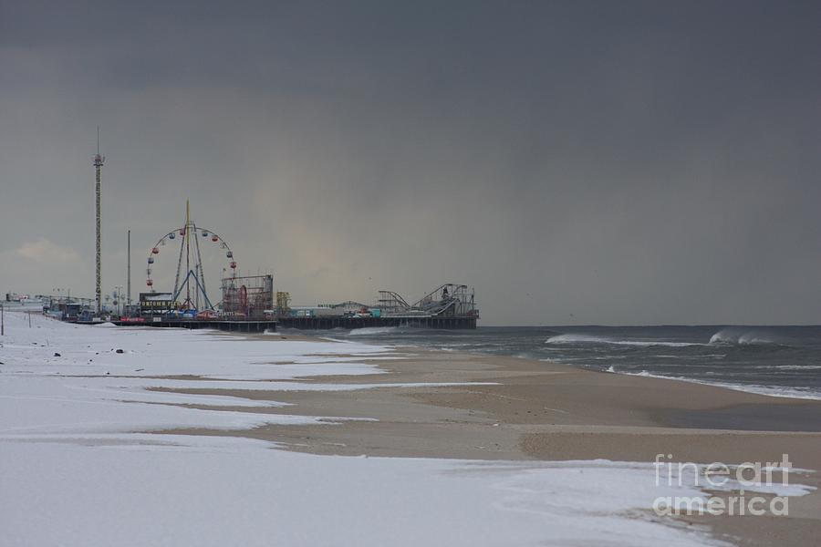 Funtown Pier Photograph - Stormy Piers by Laura Wroblewski