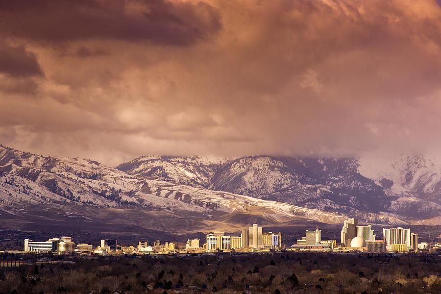 Skyline Photograph - Stormy Reno Sunrise by Janis Knight