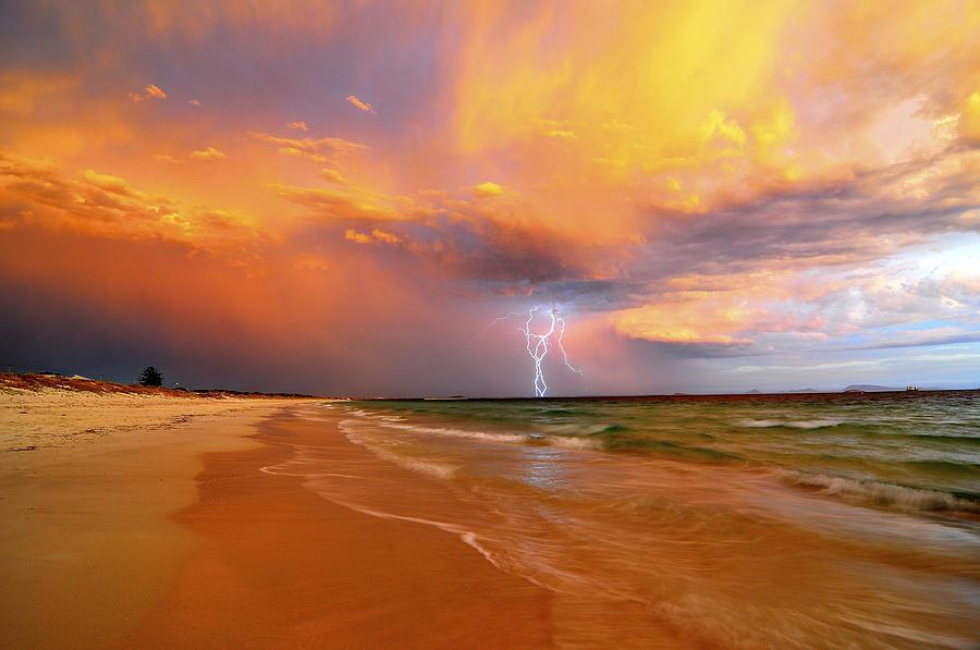 Lightning Photograph - Stormy Skies - Lightning Storm In Esperance by Sally Nevin