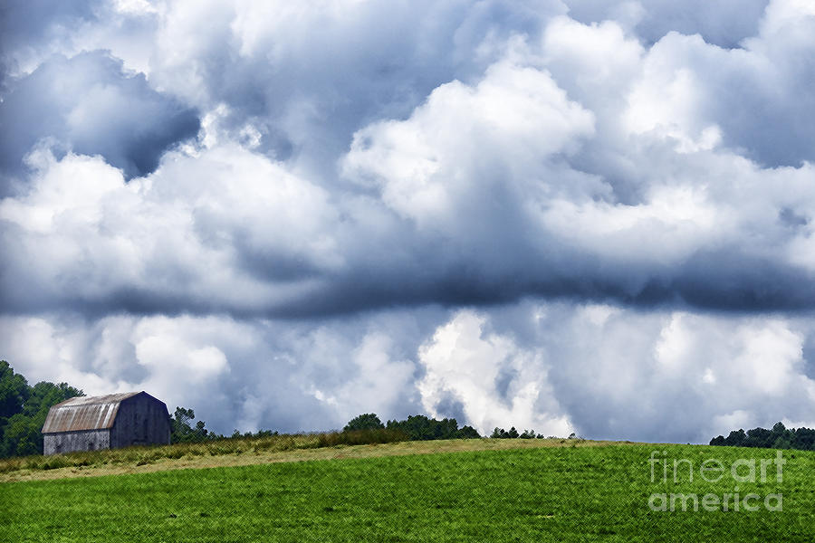 Spring Photograph - Stormy Sky And Barn by Thomas R Fletcher