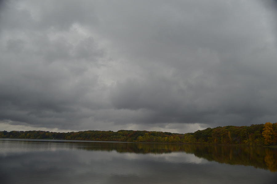 Lake Photograph - Stormy Sky In Autumn by Cim Paddock