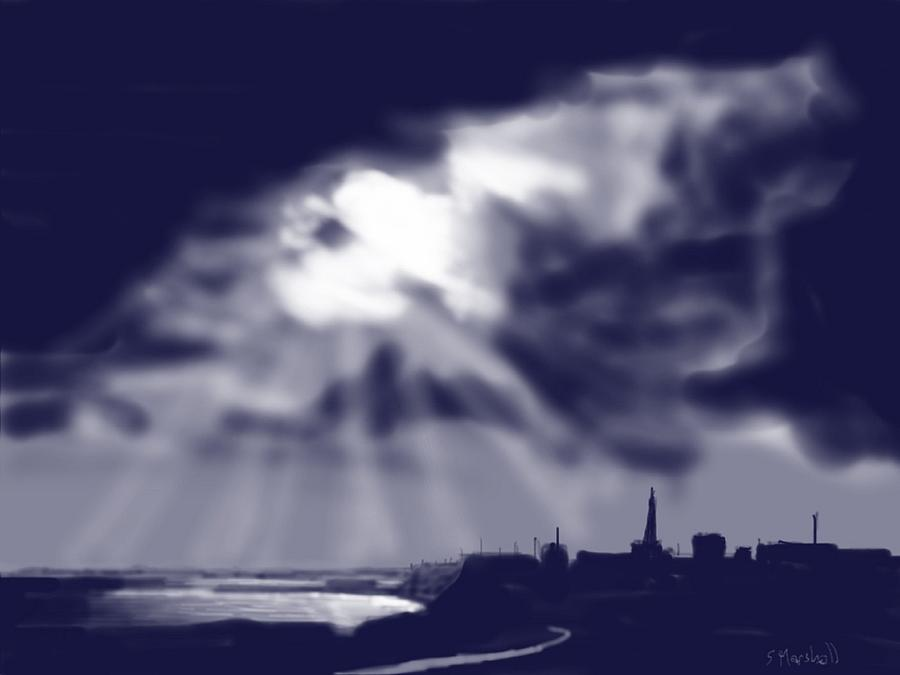 Ipad Painting Painting - Stormy Sky Over Bridlington by Glenn Marshall