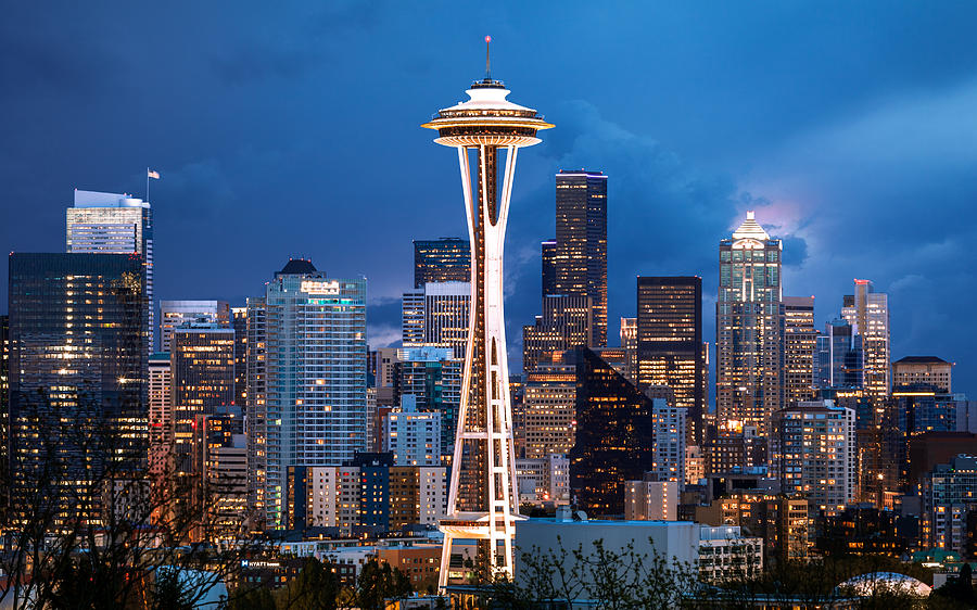 Stormy Sky, Space Needle, Seattle, Washington, America Photograph by Joe Daniel Price