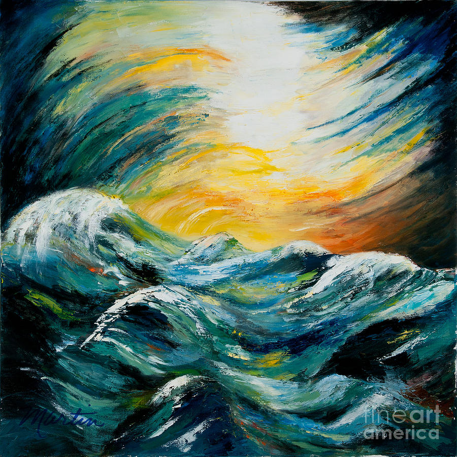 Seascape Painting - Stormy-stormy Sea by Larry Martin