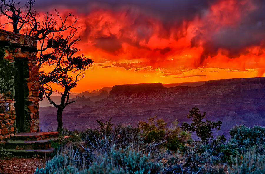 Grand Canyon National Park Photograph - Stormy Sunset At The Watchtower by Greg Norrell