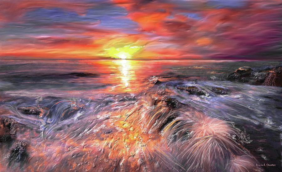 Sunset Painting - Stormy Sunset At Waters Edge by Angela A Stanton