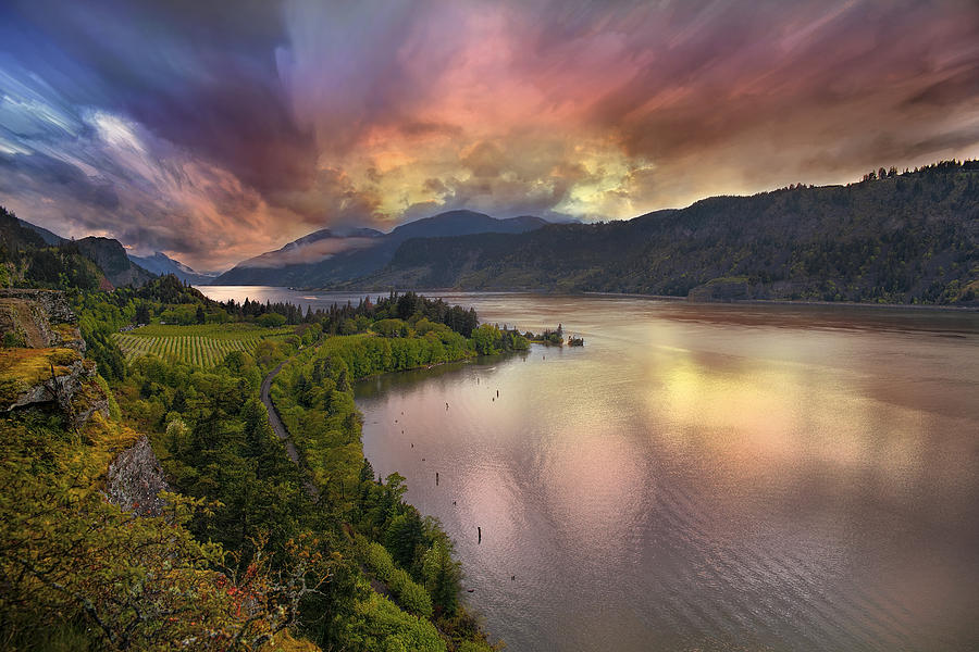 Columbia River Photograph - Stormy Sunset Over Columbia River Gorge At Hood River by David Gn
