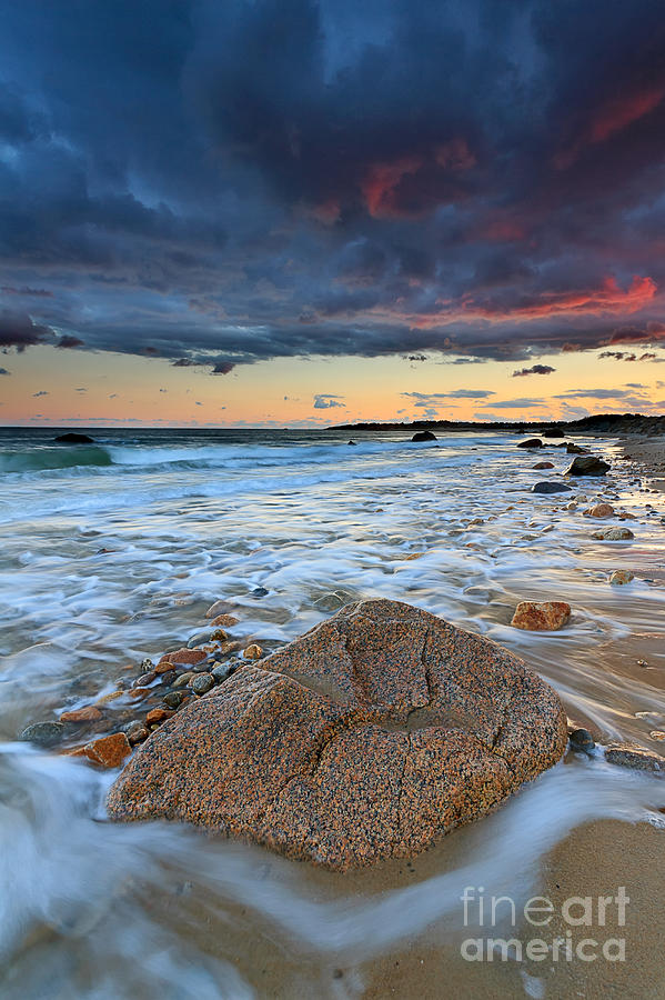 Storm Clouds Photograph - Stormy Sunset Seascape by Katherine Gendreau