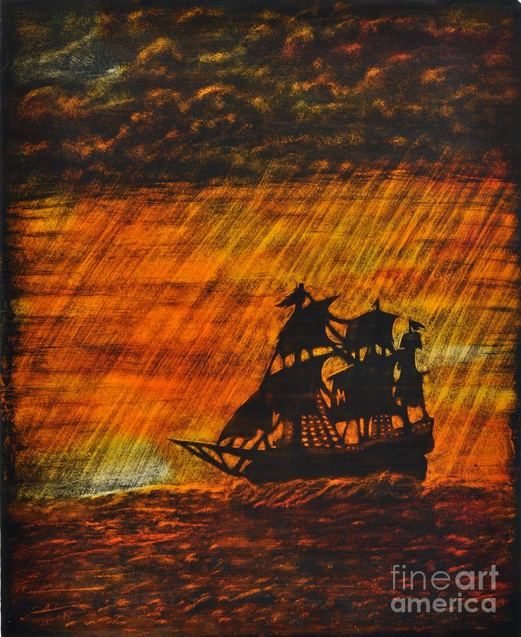 Ships Painting - Stormy Sunset by Valerie Lynn