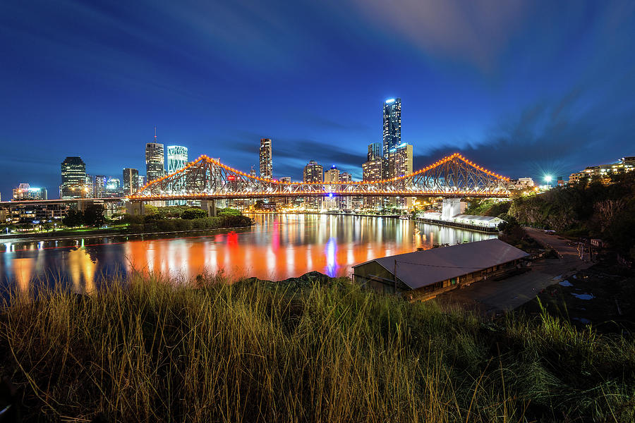 Story Bridge And Brisbane City During Photograph by Naphakm