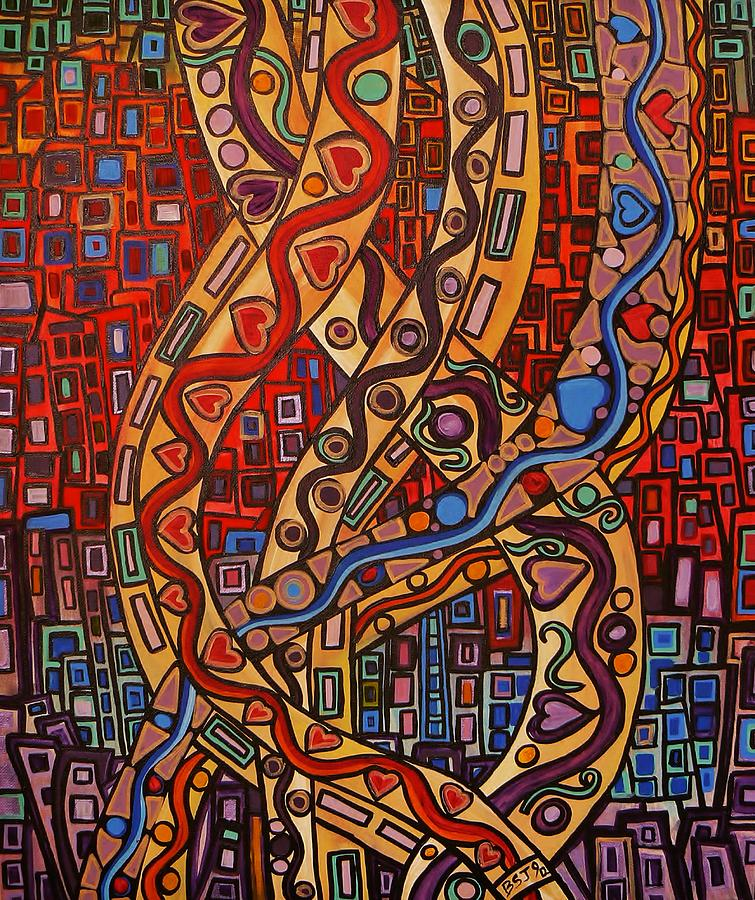 Abstract Painting - Story Lines by Barbara St Jean