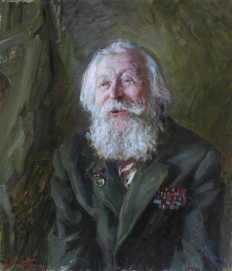 Portrait Painting - Story Of A Veteran by Korobkin Anatoly