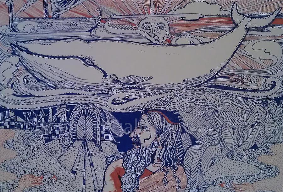 Jonah Drawing - Story Of Jonah by Ottilia Zakany