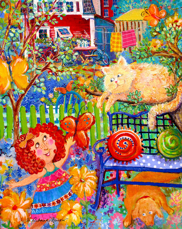 Backyard Painting - Storybook Girl And Cat by Deborah Burow
