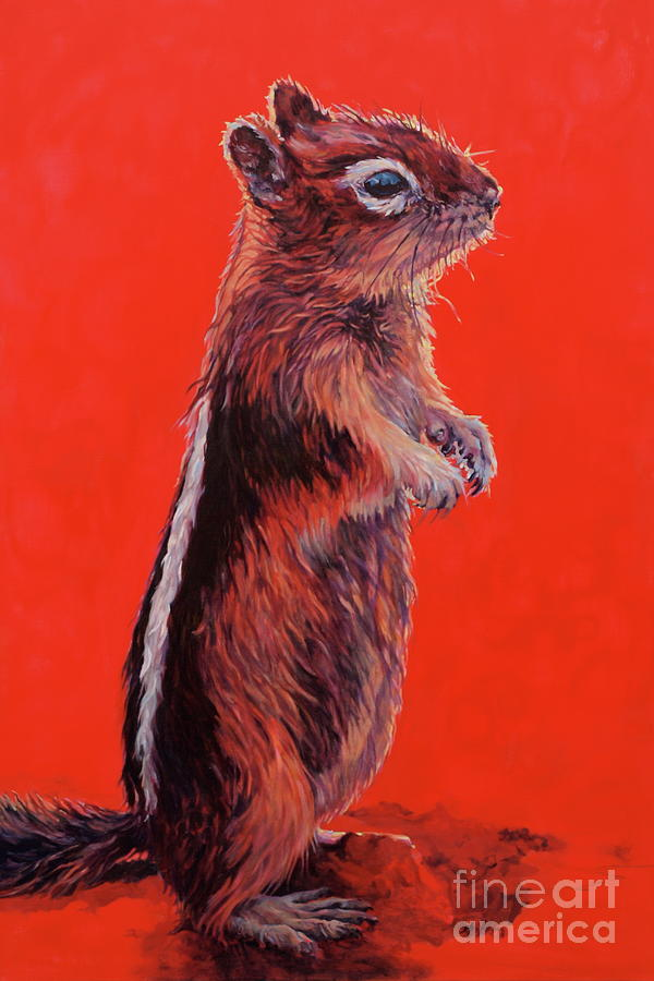 Chipmunk Painting - Storyteller by Patricia A Griffin