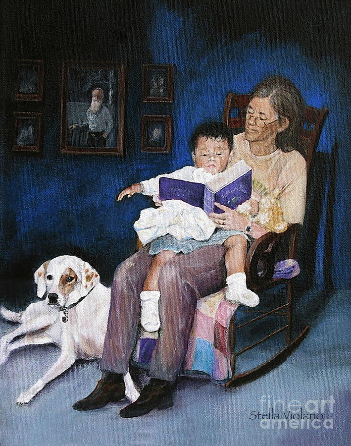 Dog Painting - Storytime by Stella Violano