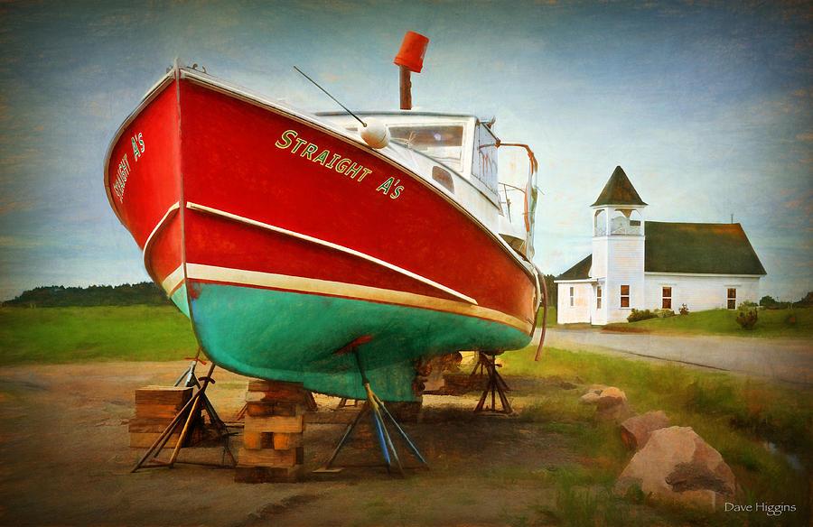 Church Digital Art - Straight As  Beals Deals Island  Maine by Dave Higgins